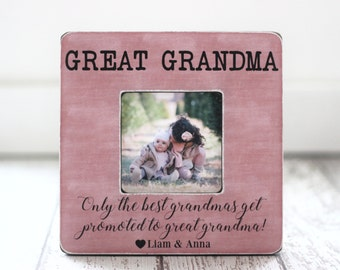Great Grandma Grandmother Gift Personalized Picture Frame Only the Best Grandmas Get Promoted to Great Grandma