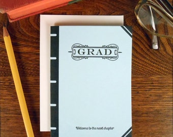 letterpress grad book cover greeting card welcome to the next chapter light blue