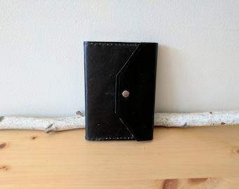 Distressed Leather Journal, Refillable, Black (Snap Closure)