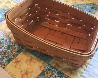 Vintage Longaberger Slanted Wooden Berry Basket Made in Ohio 1997