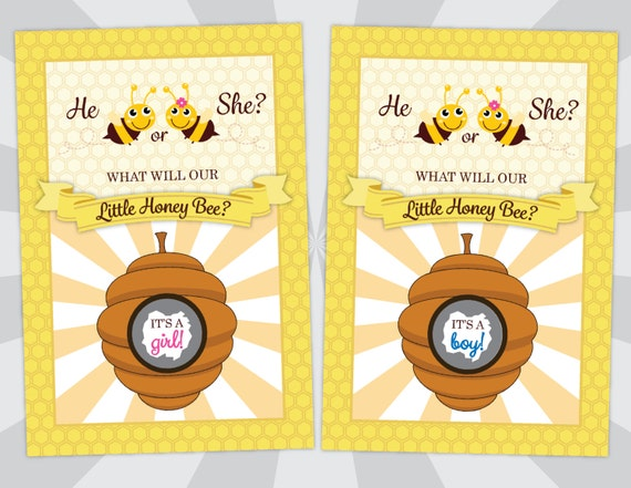 Gender Reveal Scratch Off Cards - Gender Reveal Party - What Will Our Little Honey Bee