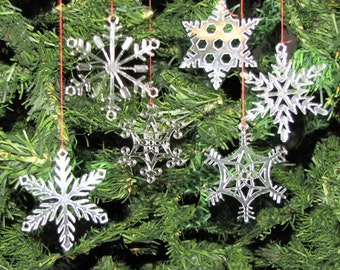 Reserved for Samantha - 6 sets of 6 Clear Acrylic Snowflake Ornaments