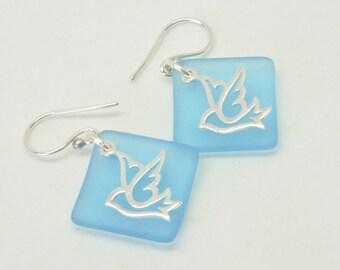 Peace Dove  Earrings, Blue bird Earrings, Silver bird Earrings, Casual Fun Summer Jewelry, Pastel Blue Sea Glass Earrings, Bird Lover Gift