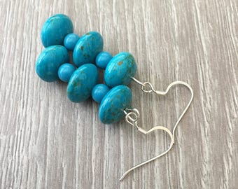 Teal Blue Earrings Aqua Blue Earrings Blue Gemstone Earrings Turquoise Earrings Chunky Blue Earrings Blue Dangle Earrings Long Turquoise