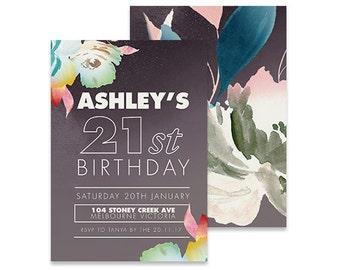 Printable Adult Birthday Invitation | Tigerlilly Cole | Printable DIY Invite, Affordable Invitation, Digital Invite, Adult Invite