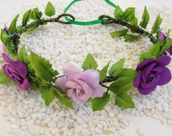 Maternity Flower Crown - Maternity Crowns, Flower Boho Crown, Wedding Flower Crown, Boho Flower Crowns, Purple Floral Crowns, Baby Crowns