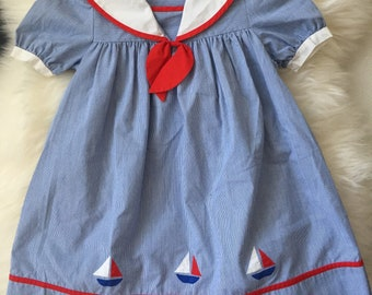 Vintage sailor nautical red white blue july fourth girl dress 6x