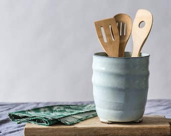Large ceramic utensil holder, Kitchen container, Big ceramic utensil jar, Light blue kitchen decor, Pottery unique vessel, Housewarming gift