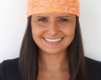 Neon Orange Lace   Fitness Headband   Yoga Headband   Workout Headband   Running Headband   Wide Headband   Lace Headband   Dressy Apparel