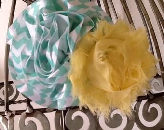 Hair clip: Aqua, white, and yellow hair clip, girls hair clip, aqua and white hair flower w/ yellow accent flower hair clip,  hair accessory