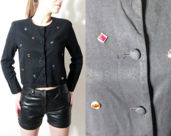 Woman Black Blazer / John Roberts Petite / Black Blazer Size 10 / Beaded Blazer / Studded Jacket