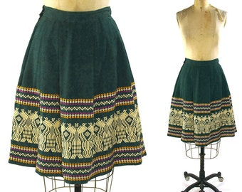 1960s Woven Guatemalan Skirt / Vintage Southwestern Bohemian Green Pleated Knee Length Hippie Skirt with Birds