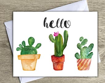 Hello Notecards for Any Occasion   Notecards with Envelopes   Any Occasion Stationary   Cactus Prints   Blank Cards