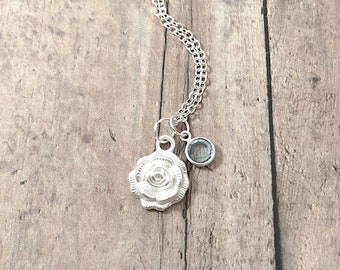 Rose birthstone necklace - rose jewelry, flower necklace, gardener gift, florist necklace, silver rose pendant, rose garden jewelry
