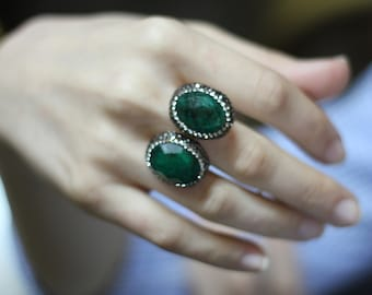 Emerald Rings, Turkish Jewelry, Green Emerald Ring,  Silver Ring, Best of the Grand Bazaar