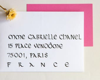 Envelope calligraphed by hand. Wedding, birthday, bar mitzvah event. Uncial style