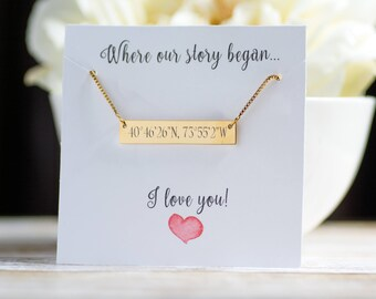 Valentine's Gift, Custom Coordinates, Sorority Necklace, Custom Name Bar Necklace, Monogram Necklace, Initials, Bridesmaid Gift