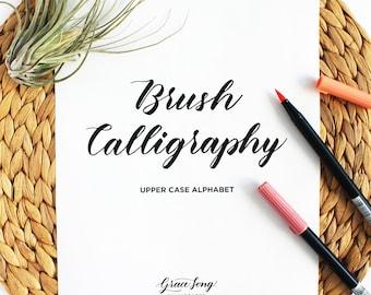 Upper Case, Capital Letter Brush Calligraphy Practice Guide, Brush Lettering Worksheets