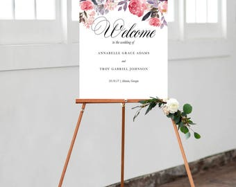 Wedding Welcome Sign, Floral Wedding Welcome Sign, Wedding Sign, Wedding Welcome Poster, Wedding Poster, Wedding Easel, Welcome to Our