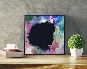 Black Woman Art African American Wall Art Afro Art Black Art African Art  Black Women Art