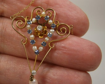 Lavalier with Genuine Seed Pearls Synthetic Blue Zircons and a Diamond, Edwardian Jewelry,  Gold Filigree Lavalier,1900's
