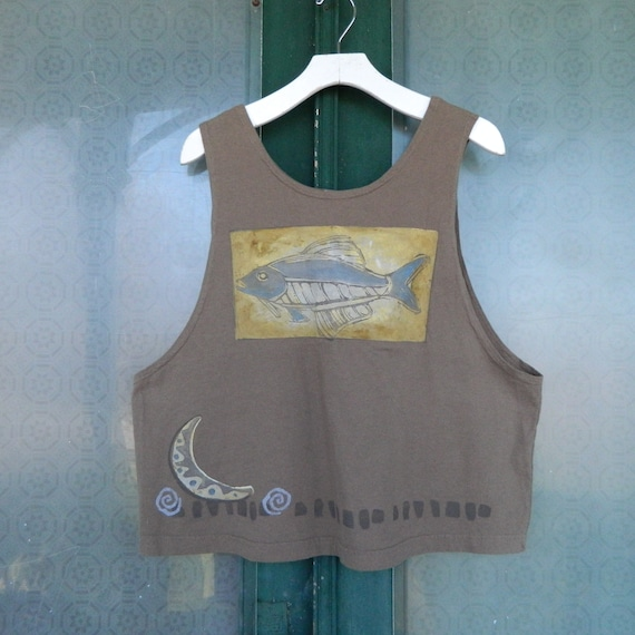 Blue Fish 1999 Artwear Tank Vest -1- Green Organic Cotton NWT