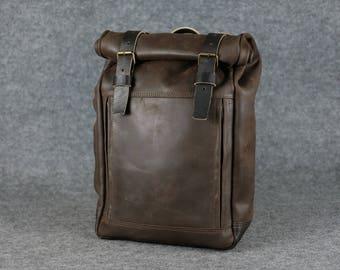 Travel backpack, Leather backpack, Large backpack, Laptop backpack, Mens travel backpack, Men's backpack, Leather Rucksack, Macbook backpack