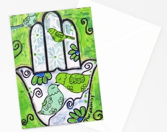 Hamsa with Birds - Greeting Card 5 x 7 inches - Folk Art By FLOR LARIOS