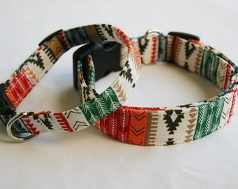 Southwest- Aztec-Tribal Stripe-Green Orange Black Red White- Dog Collar Small to Large Breed Dog-1 inch 1.5 -2 inch width