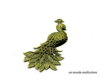 Charm shape bronze metal Peacock pendant filigree 7 x 4.5 cm