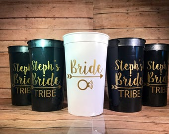 Personalized Bride Tribe Cups, Bachelorette party Cups