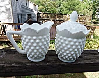 Fenton Hobnail Cream And Sugar Set, White Milk Glass, Covered Sugar Bowl, Four Inches Tall, Scalloped Rim, Coffee Accessory