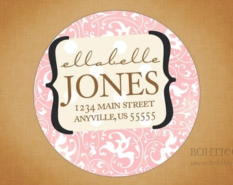 Sweet Damask Bracket Custom Return Address Stickers with Color Options