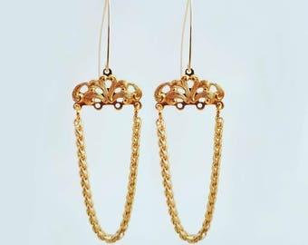 Elegant Gold Chandelier Earrings