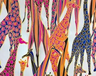 Vintage mod giraffe print wrapping paper flat folded