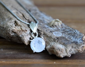 Faceted Rainbow Moonstone Sterling Silver Pendant