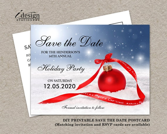 items similar to christmas party save the date card diy