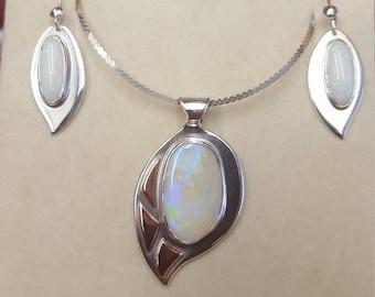 Australian Opal necklace and earring set
