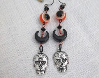 Black and Orange Sugar Skull Day of the Dead Long Beaded Dangle Earrings