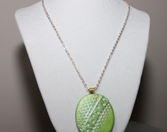 Green Clay Pendant Necklace; Polymer Clay Necklace; Green Pendant Necklace; Polymer Clay Jewelry