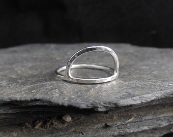 Half-moon sterling silver ring (0.925. Also in 14k gold filled. Hammered. Arch ring. Half-circle ring, thin, stacking ring.