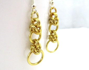Gold Half Byzantine Chainmaille Earrings - Ready to Ship