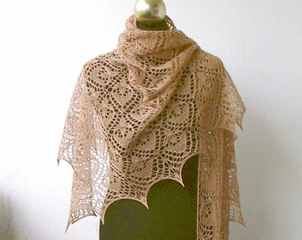 Camel Beige  hand knitted silk and merino lace shawl