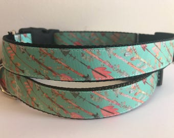 Mint Green Blue Arrows on Brown or Black Nylon 1 inch Dog Collar