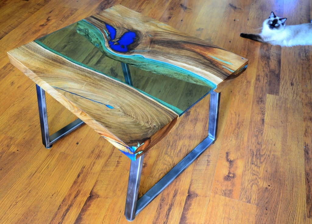 live edge river coffee table with glowing resin fillin. Black Bedroom Furniture Sets. Home Design Ideas