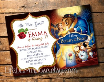 Beauty and the Beast Birthday Party Invitation