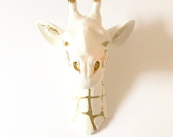 CUSTOM ANY 2 colors, Large Faux Taxidermy Giraffe Head, Large Animal Head, White and Gold, Safari Animal Head, Faux Taxidermy Giraffe,