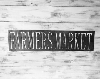 "Metal Sign, 12""x48"", Farmers Market, Farmhouse Decor,Metal Signs, Industrial, Metal Wall Art, Large Metal Sign, Large Wall Art, Rustic Metal"