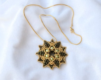 Olive Green and Gold Star Pendant