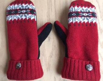 Wool mittens, upcycled felted sweaters, leather palms and fleece